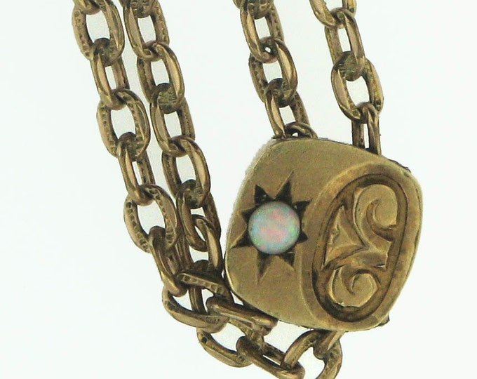 Vintage Victorian Edwardian Gold Filled Lady's Watch Chain with Gold Slide with Opal