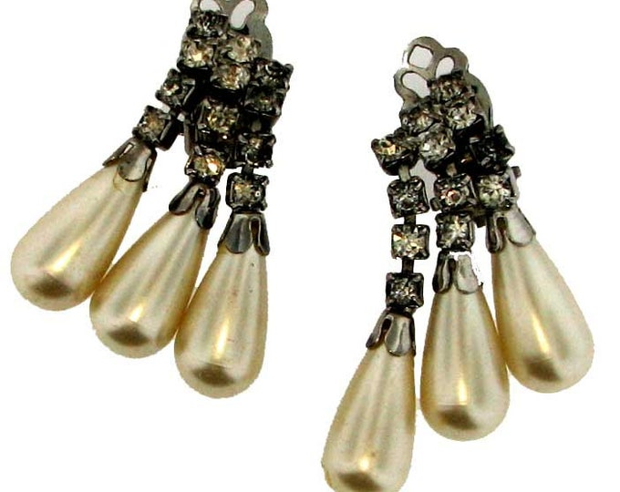 Vintage Rhinestone and Faux Pearl Non-Pierced Earrings