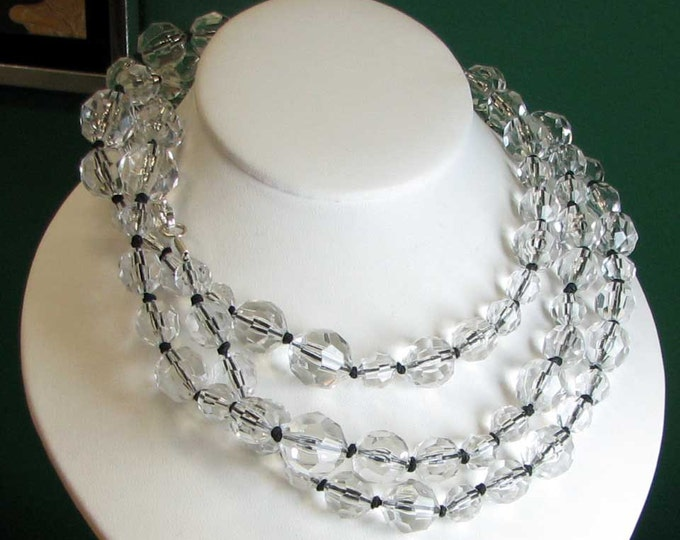 Fun Clear Colorless Round Faceted Long Bead Strand - GOES WITH EVERYTHING!