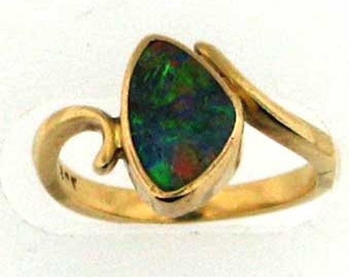 COLORFUL BOULDER OPAL Gold Ring