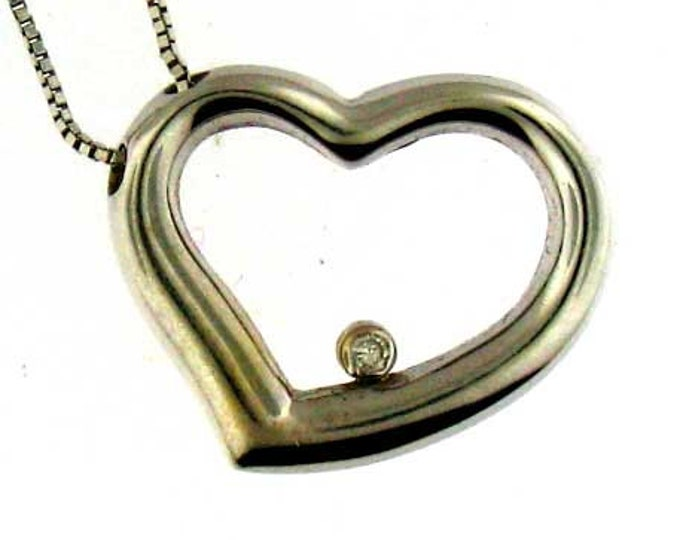 Modern 14K White Gold Diamond Heart Pendant Necklace and Chain