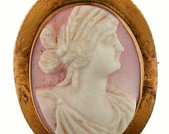 VINTAGE GOLD VICTORIAL Gold Shell Cameo