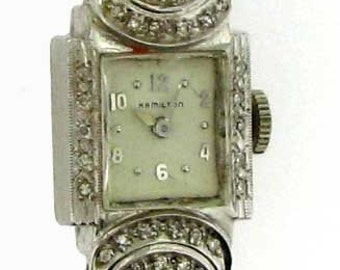 Laced with Diamonds Vintage Lady's White Gold Hamilton Watch