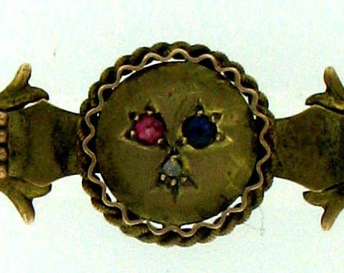 Vintage Victorian Gothic Revival Diamond, Ruby and Sapphire Bar Brooch Pin