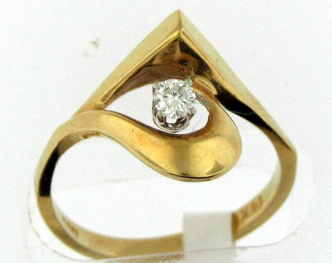 Vintage 80s Yellow Gold Geometric Diamond Ring