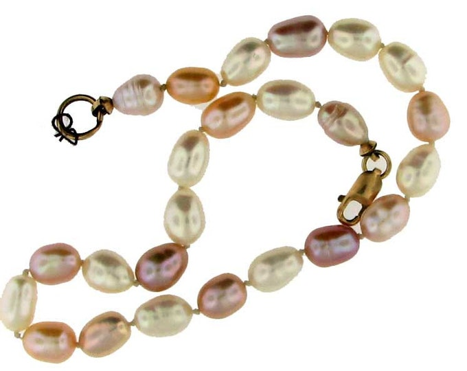 Pastel Freshwater Pearl Bracelet with Gold Clasp