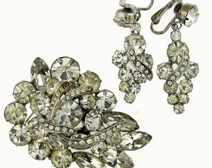 Vintage Retro Colorless Brooch Pin and Earring Parure