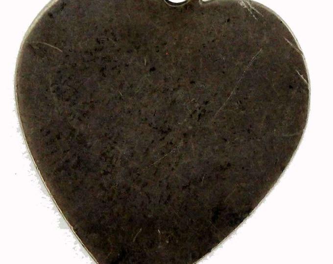 Vintage Sterling Silver Large Heart Pendant Charm