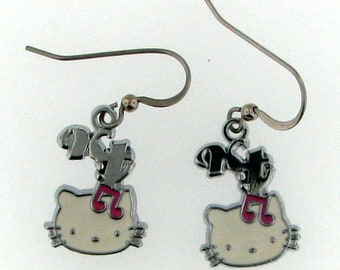 Hello Kitty Dangle Earrings with Musical Notes