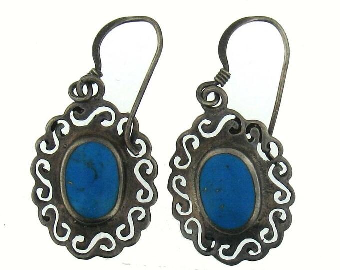 Handmade Sterling Silver Oval Turquoise Ornate Framed Dangle Earrings