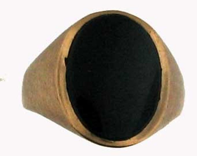 Gold Gents Onyx Ring with Satin Finish