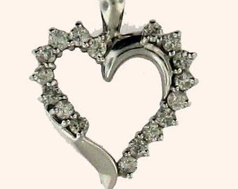 Nice Sized White Gold Diamond Heart Pendant