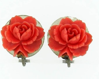 Vintage Celluloid Imitation Coral Rose Screwback Earrings