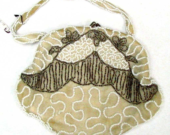 Vintage Retro Handmade Beige, Gray and White Beaded Hand Bag with Short Strap