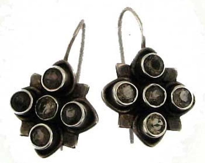Sterling Silver Quartz Dangle Drop Earrings