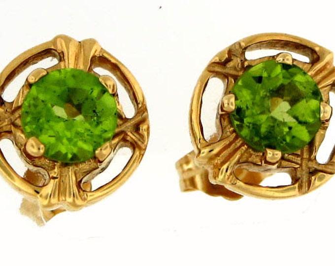 MUST GO August Birthstone 14K Gold Periodot Earrings
