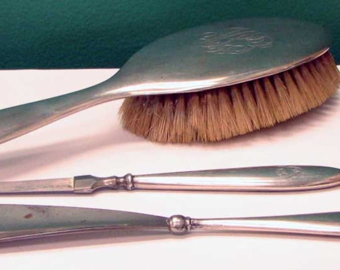 Vintage Edwardian Polished Sterling Silver Four Piece Vanity Set - Brush, Shoe Horn Nail File and Buffer