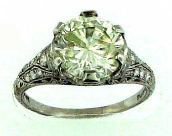 WOW!! Certified Approx. 3.31 Carat Diamond Platinum Engagement Ring