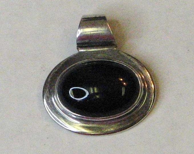 Sterling Silver Black Onyx Slide Pendant