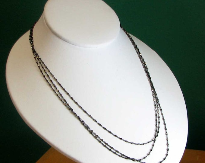 Antiqued Three Strand Sterling Silver Necklace