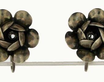 Vintage Retro Sterling Silver Flower Bud Non-pierced Earrings