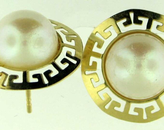 FASHIONABLE 14K Yellow Gold Pearl Greek Key Pattern Earrings