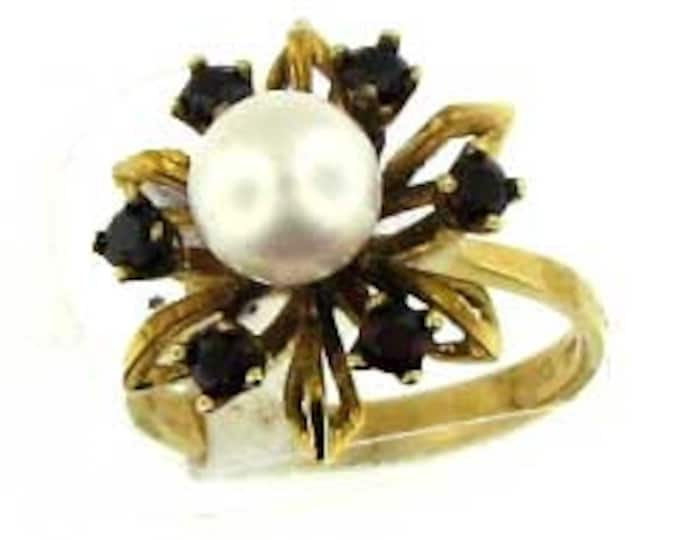Stately Cultured Akoya Pearl and Garnet Ring