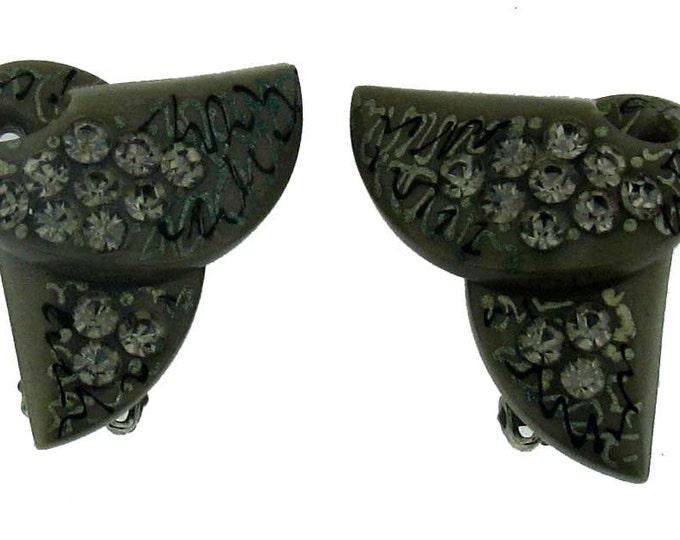 Vintage Retro Bakelite Rhinestone Clip Earrings