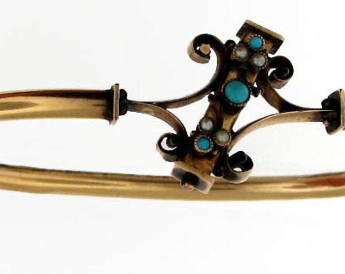 Vintage Victorian Gold Hinged Bangle Bracelet with Turquoise and Natural Pearls