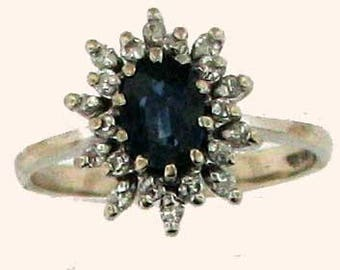 Denim Blue Natural Sapphire and Diamond Ring