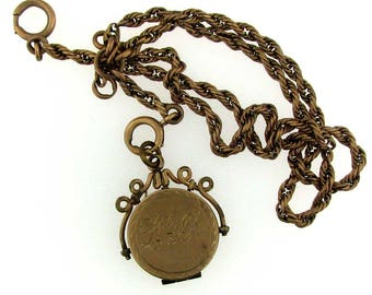 WONDERFUL Gold Filled Watch Chain with Locket Fob with Picture