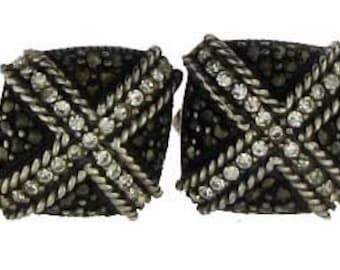 Modern Black and White Rhinestone and Marcasite Pierced Earrings