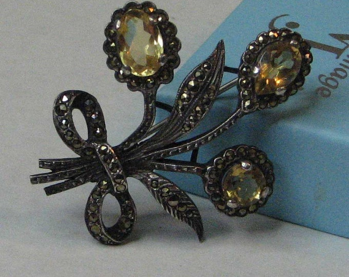 Vintage Art Deco Sterling Silver Flower Brooch