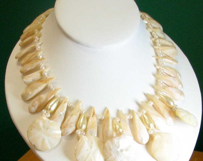 Tropical Mother of Pearl Tribal Necklace