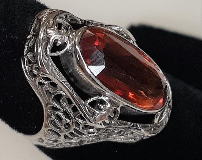 Edwardian Style White Gold Filigree Sapphire Ring