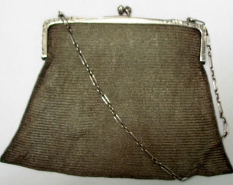 Vintage Sterling Silver Mesh Clutch Purse with Chain