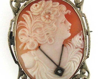 AWESOME DETAIL Vintage Art Deco Gold Cameo with Diamond