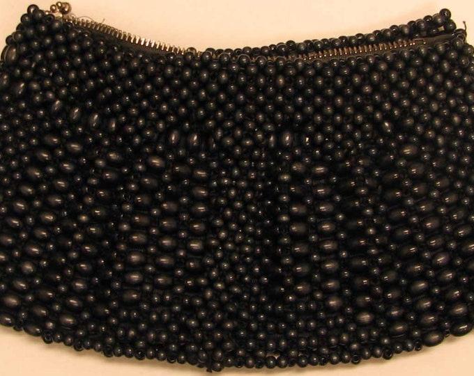 Vintage Navy Blue Beaded Handbag