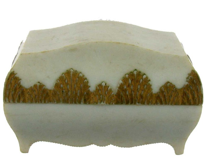 Vintage White and Gold Retro Plastic Treaasure Chest Shaped Jewelry Gift Box