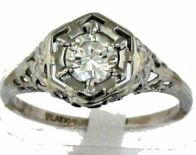 Vintage Art Deco Edwardian Platinum Diamond Filigree Ring - Light Half Carat
