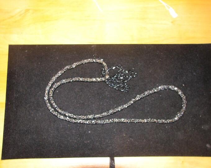 Vintage Art Deco Glittery Black Flapper Beads - Shorter Style with Tassel