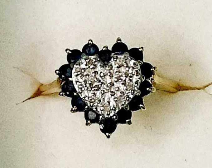 Vintage Natural Sapphire and Diamond Heart Shaped Ring
