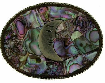 Vintage Large Mexican Inlaid Abalone Shell Moon Belt Buckle