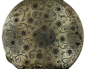 Vintage Italian Peruzzi Brothers Silver and Natural Gemstone Powder Compact