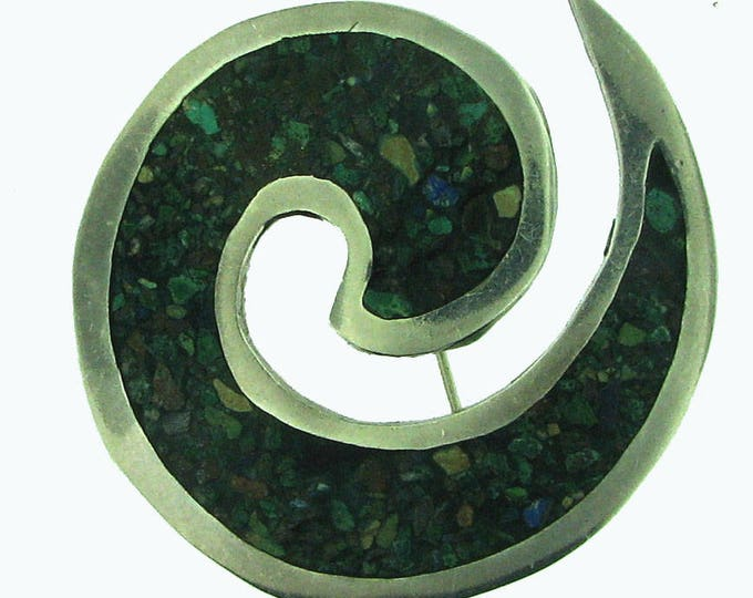 Sterling Silver Swirl Turquoise Green Mosaic Composite Brooch