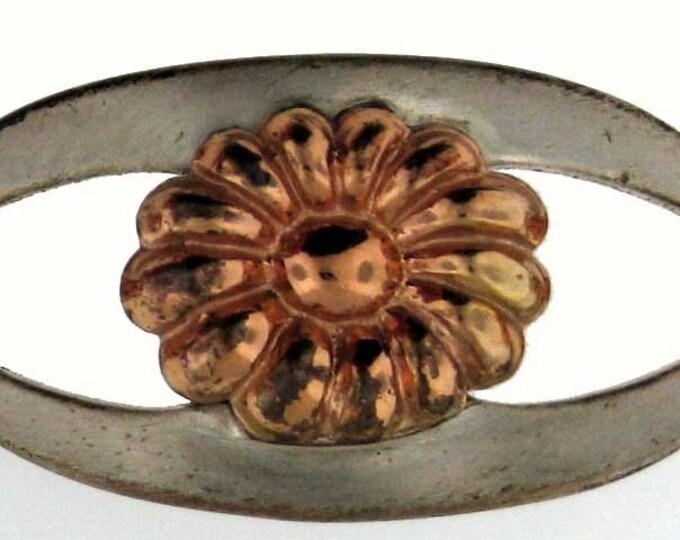 Brushed Sterling Silver and Rose Gold Floral Link Bracelet