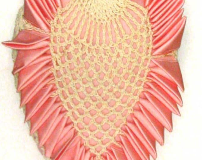 Vintage Retro Pink Silk and Crochet Heart Pin Cushion