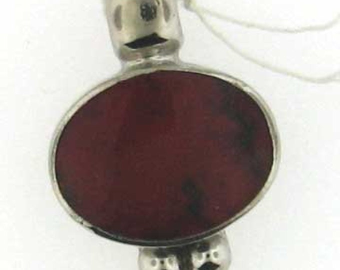 Sterling Silver Red Dyed Howlite Cabochon Pendant