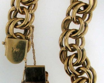 HEAVY LARGE SOLID 14K Yellow Gold Double Link Chain