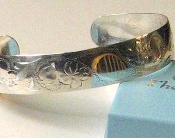 Sterling Silver Etched Shamrock Cuff Bracelet